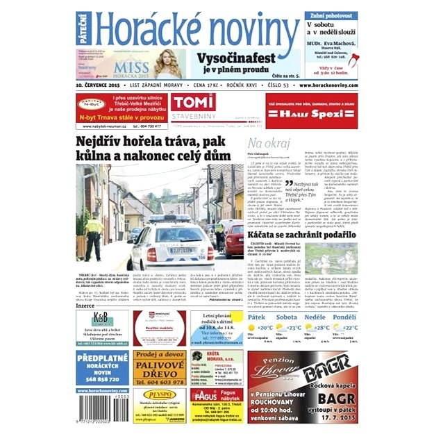 Horácké noviny - Pátek 10.7.2015 č. 53 - Elektronické noviny