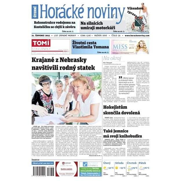 Horácké noviny - Úterý 21.7.2015 č. 56 - Elektronické noviny