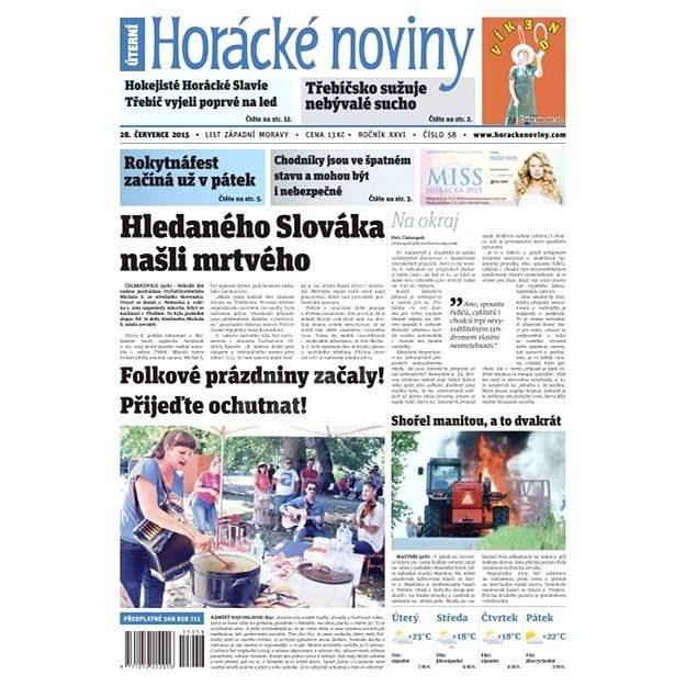 Horácké noviny - Úterý 28.7.2015 č. 58  - Elektronické noviny
