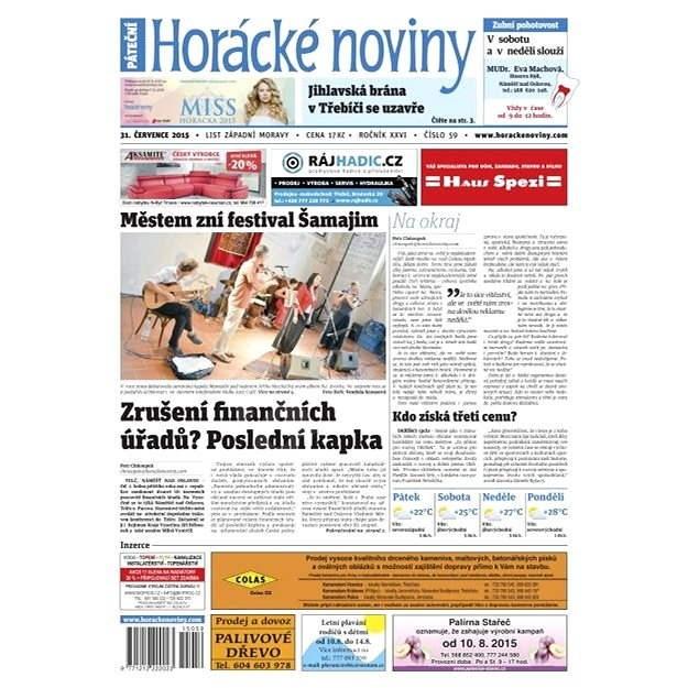 Horácké noviny - Pátek 31.7.2015 č. 59 - Elektronické noviny