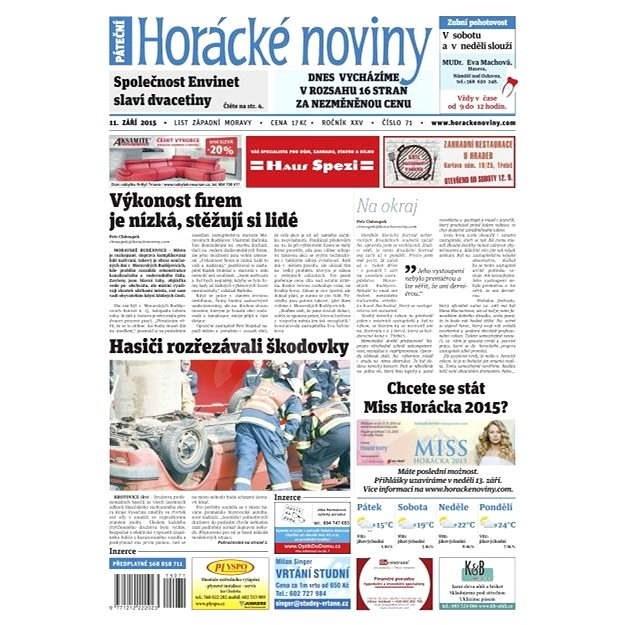 Horácké noviny - Pátek 11.9.2015 č. 71 - Elektronické noviny
