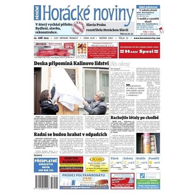 Horácké noviny - Pátek 25.9.2015 č. 75 - Elektronické noviny