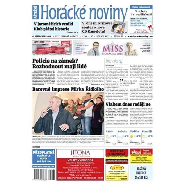 Horácké noviny - Pátek 6.11.2015 č. 87 - Elektronické noviny