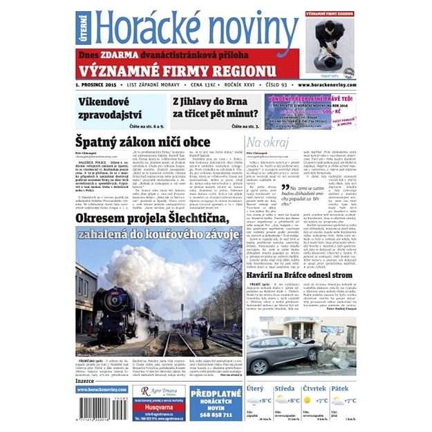 Horácké noviny - Úterý 1.12.2015 č. 93 - Elektronické noviny