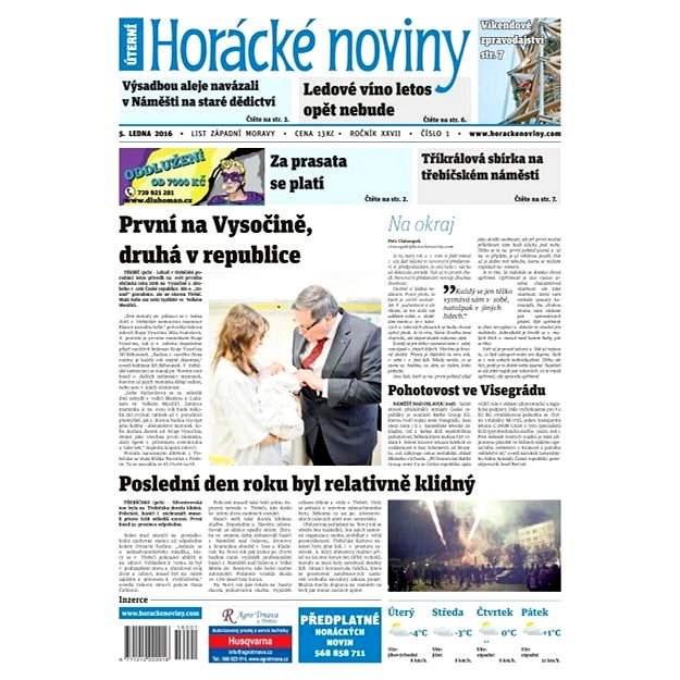 Horácké noviny - Úterý 5.1.2016 č. 001 - Elektronické noviny