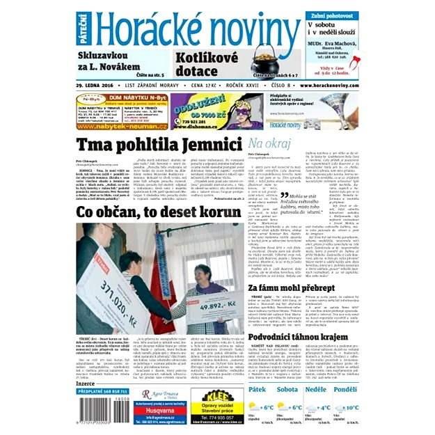 Horácké noviny - Pátek 29.1.2016 č. 008 - Elektronické noviny