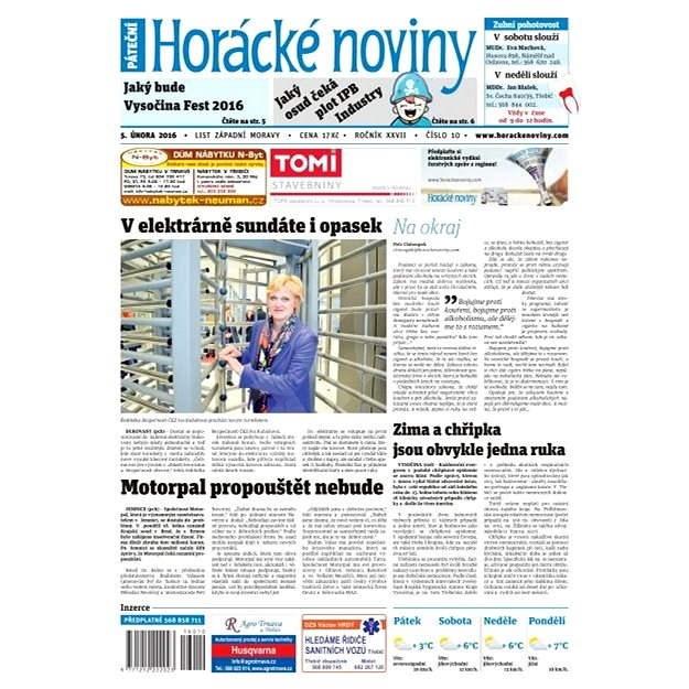 Horácké noviny - Pátek 5.2.2016 č. 010 - Elektronické noviny