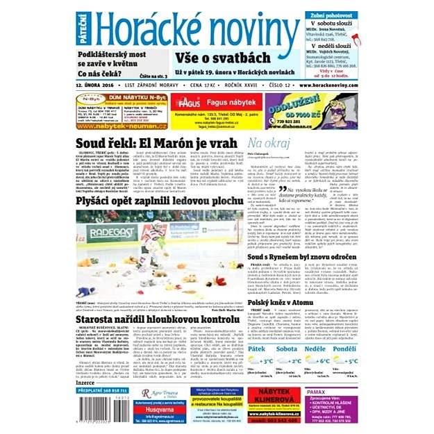 Horácké noviny - Pátek 12.2.2016 č.012 - Elektronické noviny