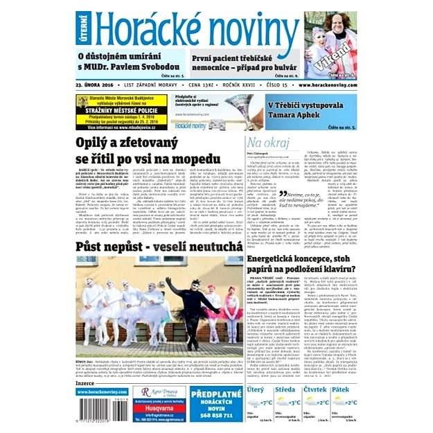 Horácké noviny - Úterý 23.2.2016 č. 015 - Elektronické noviny