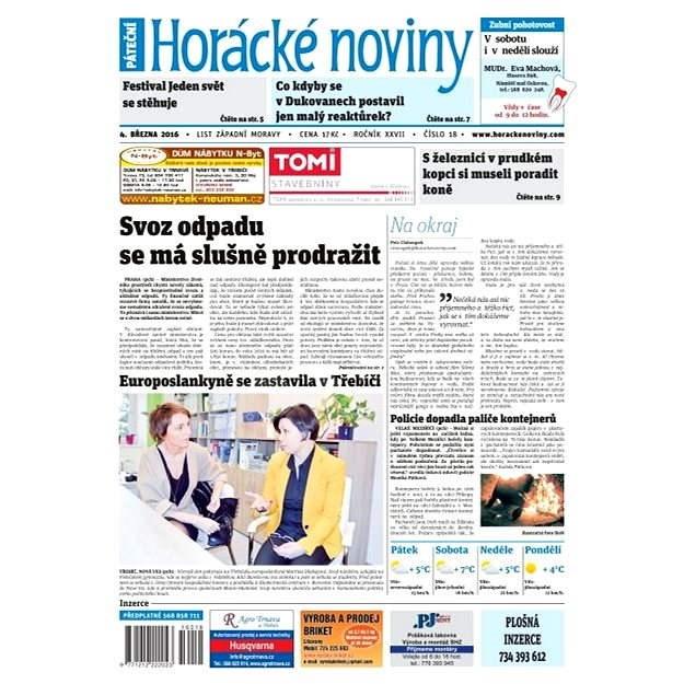 Horácké noviny - Pátek 4.3.2016 č.018 - Elektronické noviny