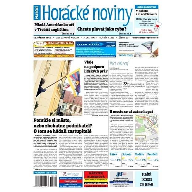 Horácké noviny - Pátek 11.3.2016 č.020 - Elektronické noviny