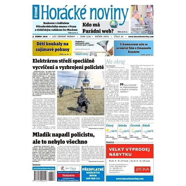 Horácké noviny - Úterý 5.4.2016 č. 026 - Elektronické noviny
