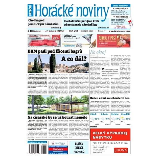 Horácké noviny - Pátek 8.4.2016 č.027 - Elektronické noviny