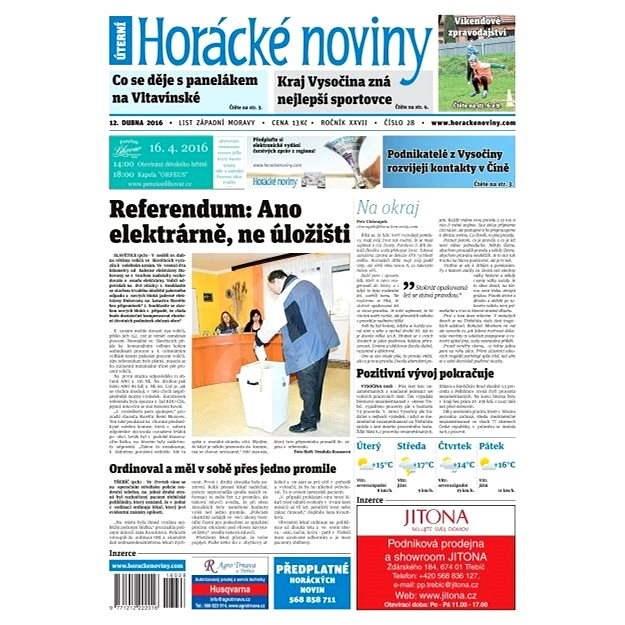 Horácké noviny - Úterý 12.4.2016 č. 028 - Elektronické noviny