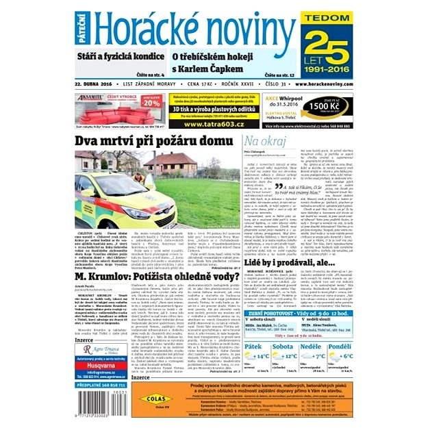 Horácké noviny - Pátek 22.4.2016 č.031 - Elektronické noviny