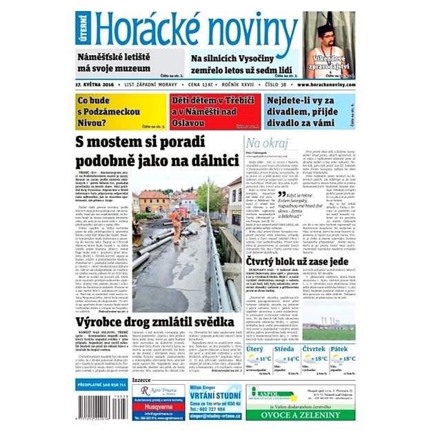 Horácké noviny - Úterý 17.5.2016 č. 038 - Elektronické noviny