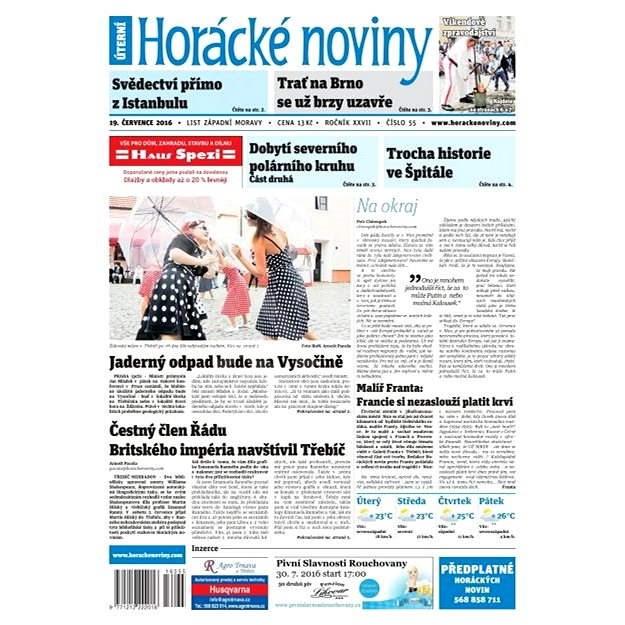 Horácké noviny - Úterý 19.7.2016 č. 055 - Elektronické noviny