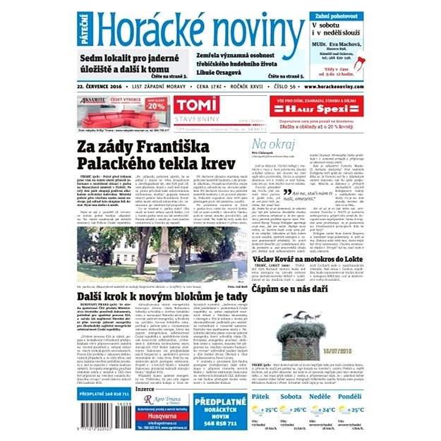 Horácké noviny - Pátek 22.7.2016 č. 056 - Elektronické noviny