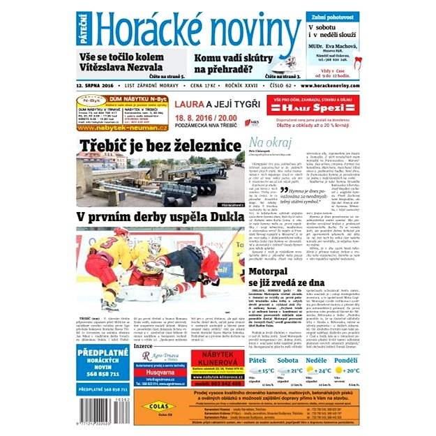 Horácké noviny - Pátek 12.8.2016 č. 062 - Elektronické noviny
