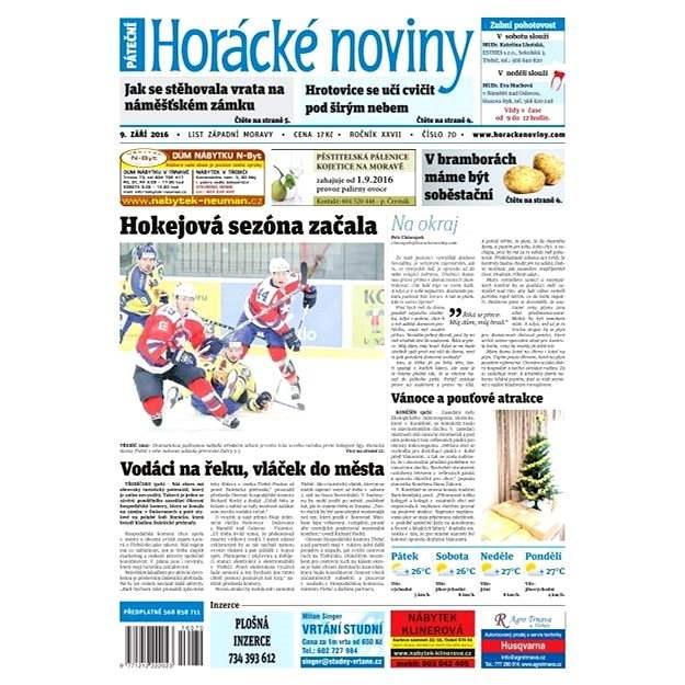 Horácké noviny - Pátek 9.9.2016 č. 070 - Elektronické noviny