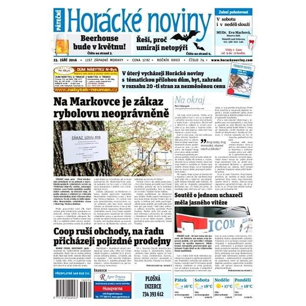 Horácké noviny - Pátek 23.9.2016 č. 074 - Elektronické noviny