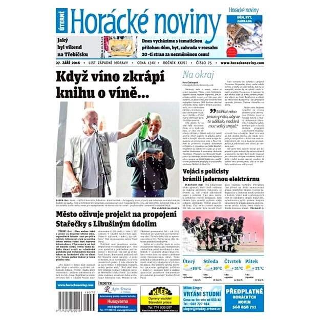 Horácké noviny - Úterý 27.9.2016 č. 075 - Elektronické noviny