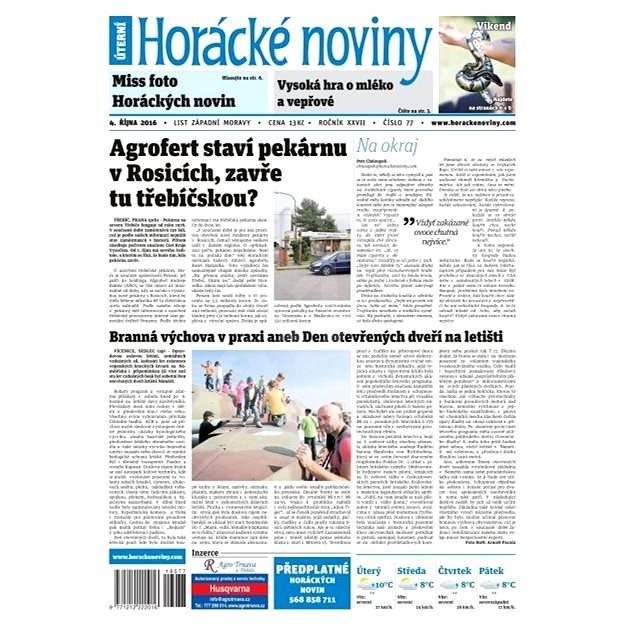 Horácké noviny - Úterý 4.10.2016 č. 77 - Elektronické noviny