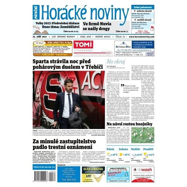 Horácké noviny - Pátek 22.9.2017 č. 072 - Elektronické noviny