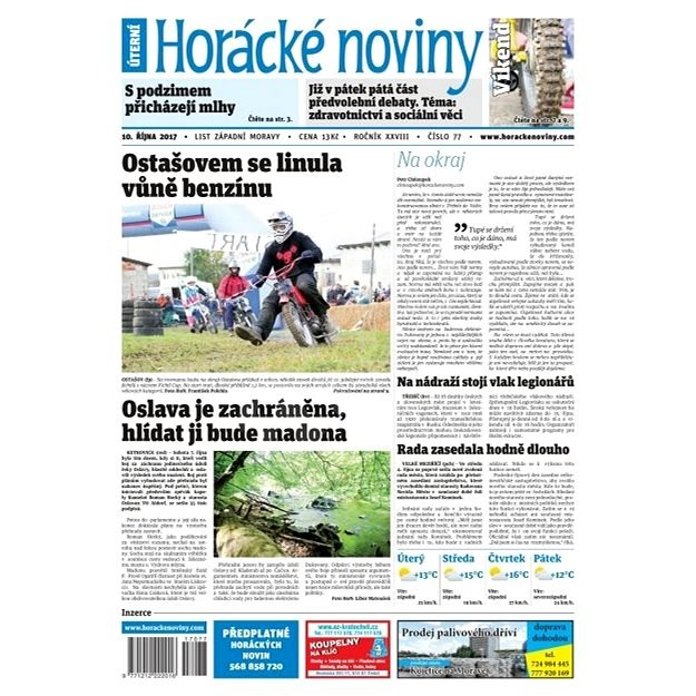 Horácké noviny - Úterý 10.10.2017 č. 077 - Elektronické noviny