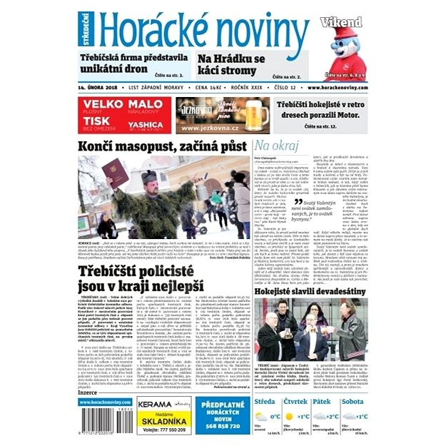 Horácké noviny - Středa 14.2.2018 č. 012 - Elektronické noviny