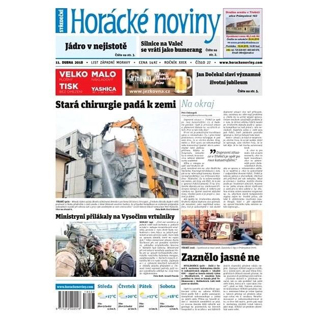 Horácké noviny - Středa 11.4.2018 č. 027 - Elektronické noviny