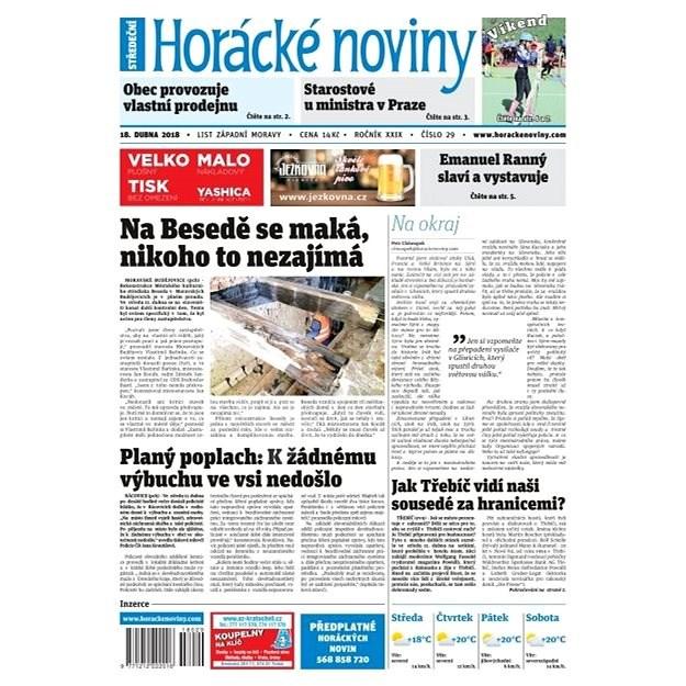 Horácké noviny - Středa 18.4.2018 č. 029 - Elektronické noviny
