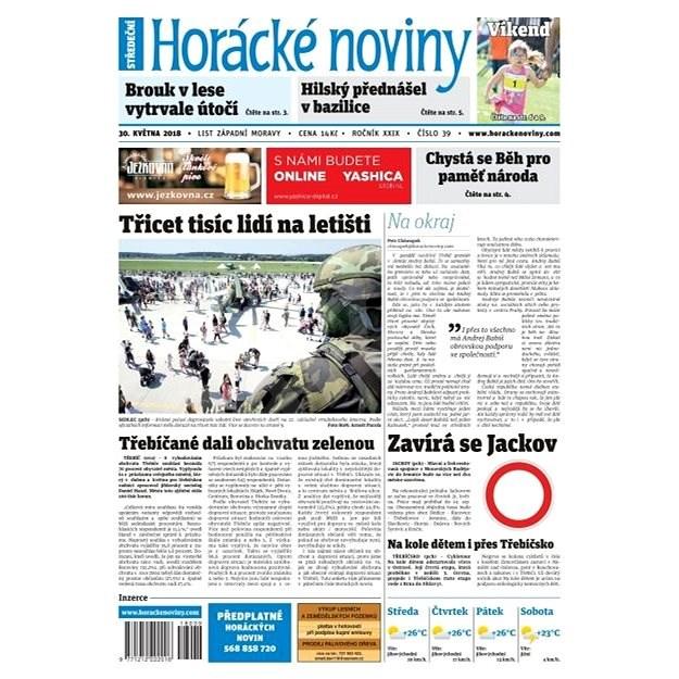 Horácké noviny - Středa 30.5.2018 č. 039 - Elektronické noviny