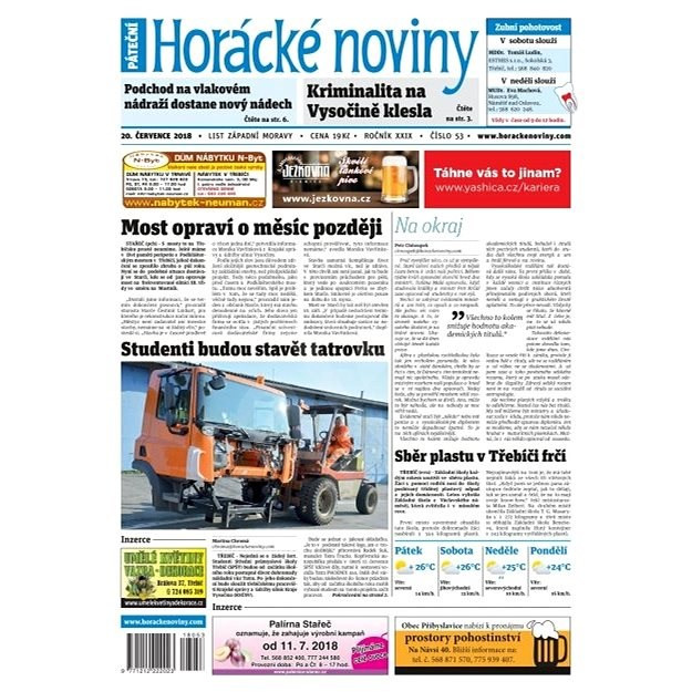 Horácké noviny - Pátek 20.7.2018 č. 053 - Elektronické noviny