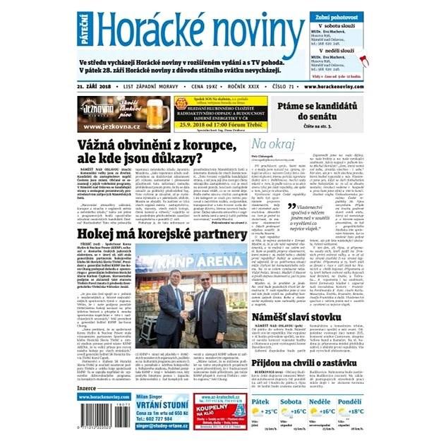 Horácké noviny - Pátek 21.9.2018 č. 071 - Elektronické noviny