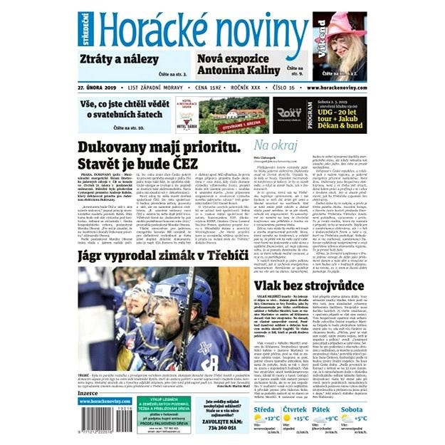 Horácké noviny - Středa 27.2.2019 č. 016 - Elektronické noviny