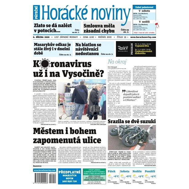 Horácké noviny - Pátek 6.3.2020 č. 019 - Elektronické noviny