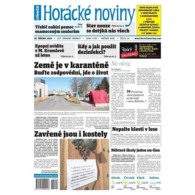 Horácké noviny - Středa 18.3.2020 č. 022 - Elektronické noviny