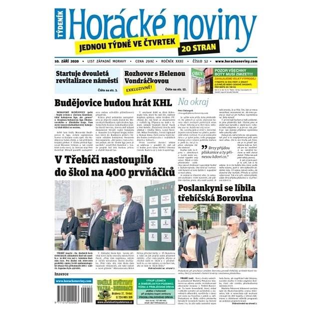 Horácké noviny - Čtvrtek 10.9.2020 č. 052 - Elektronické noviny