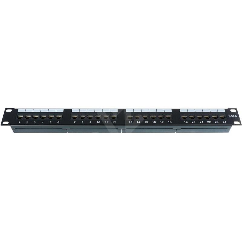Datacom 24x RJ45, přímý, CAT6, UTP, černý, 1U - Patch panel