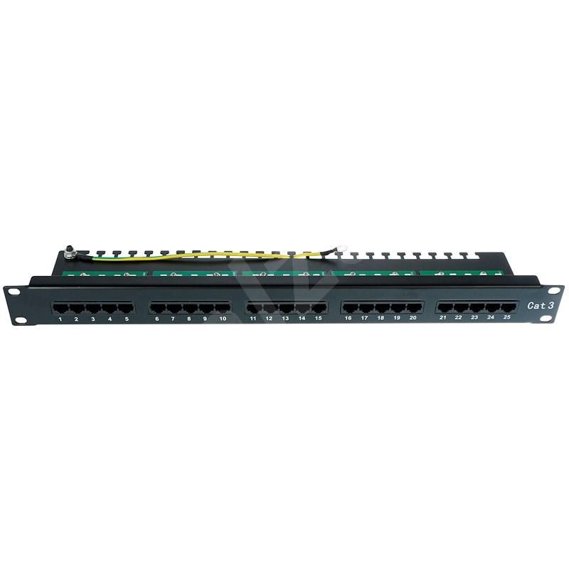 Datacom, ISDN Integrated, 25 portů RJ45 STP kat.3, 1U, černý - Patch panel
