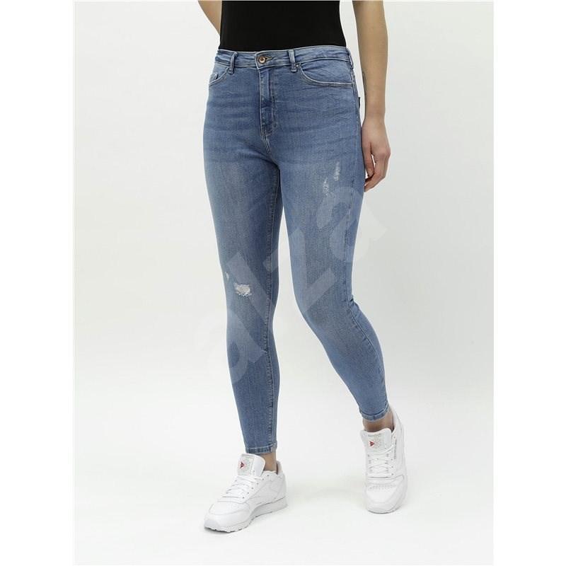 ONLY Modré zkrácené skinny džíny s vysokým pasem Paola XS  - Džíny