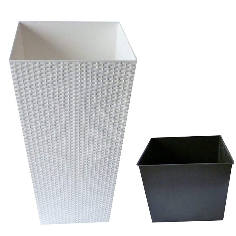 Prosperplast RATO SQUARE 40x40x75cm, 40/91.5l, bílý - Květináč