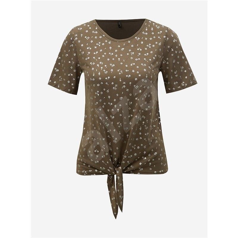 Khaki květované tričko s uzlem ONLY Isabella XS - Dámské tričko