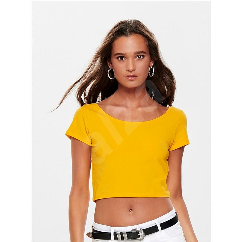 Žlutý basic crop top ONLY Live L - Dámské tričko