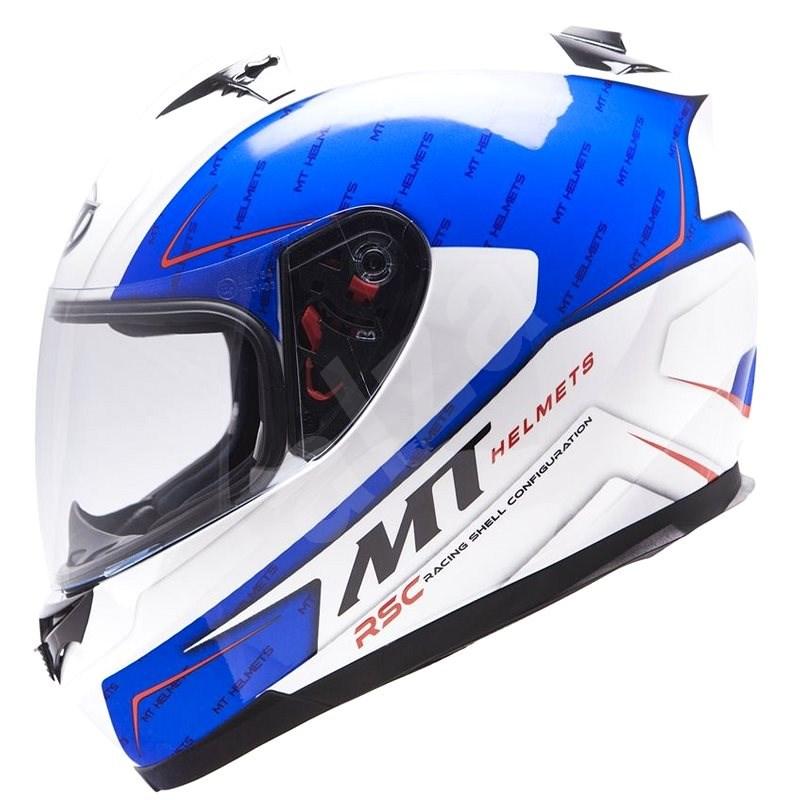 MT HELMETS Blade SV BOSS (bílá/modrá, vel. M) - Helma na motorku
