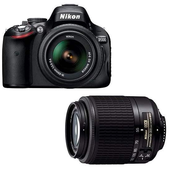 Nikon D5100 černý + Objektivy 18-55 II AF-S DX+ 55-200 AF-S - Digitální zrcadlovka