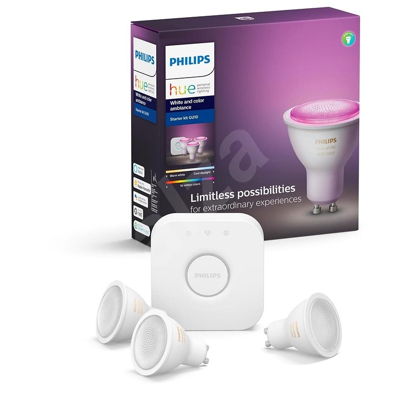 Philips Hue White and Color ambiance 5.7W GU10 starter kit - LED žárovka