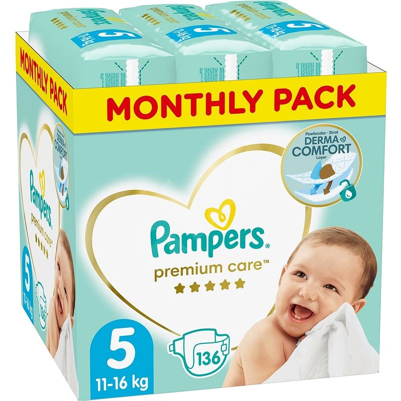 PAMPERS Premium Care vel. 5 Junior (136 ks) - měsíční balení - Dětské pleny