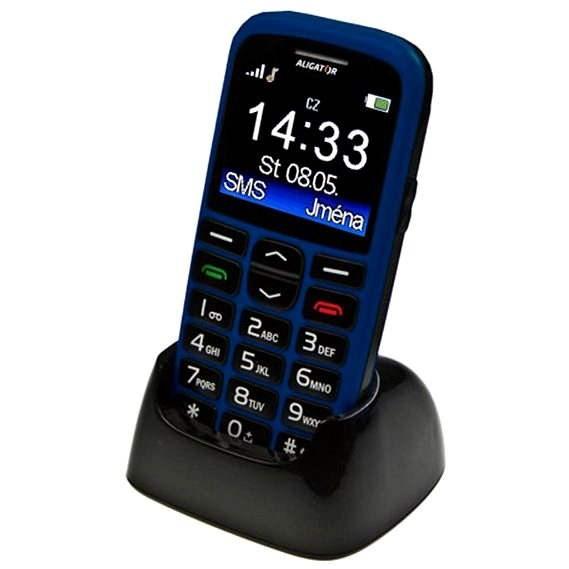 Aligator A680 Senior Modrý + Stolní nabíječka - Mobilní telefon